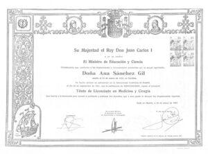 Titulo Licenciado Medicina y Cirugía Ana Sánchez Gil